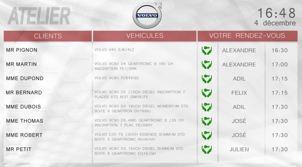 Planning SAV concession automobile